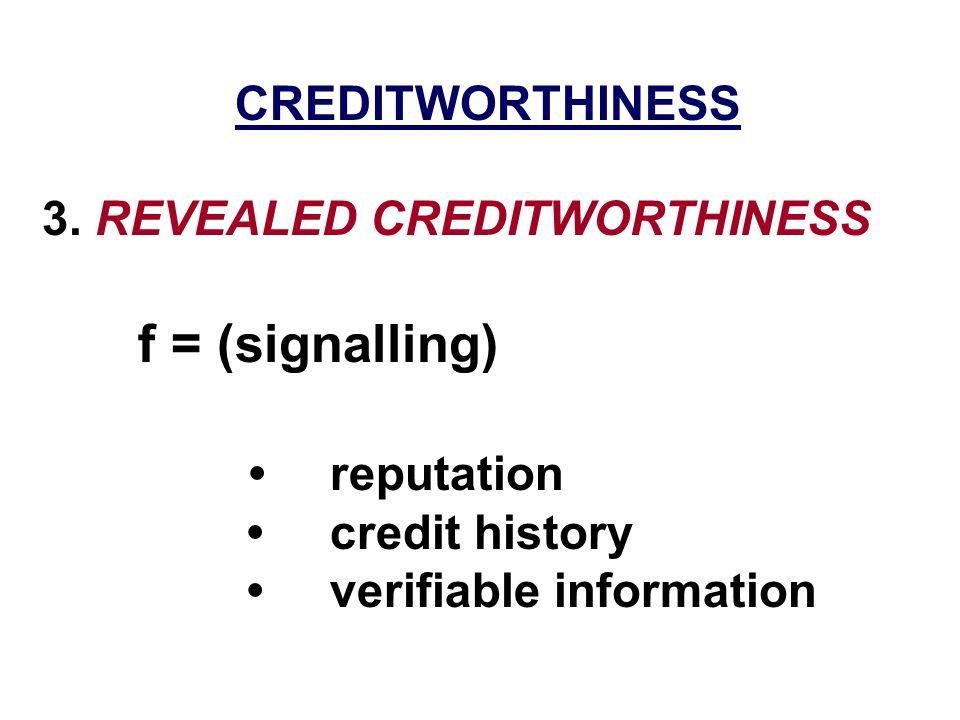 CREDITWORTHINESS 3. REVEALED CREDITWORTHINESS f = (signalling) reputation credit history verifiable information