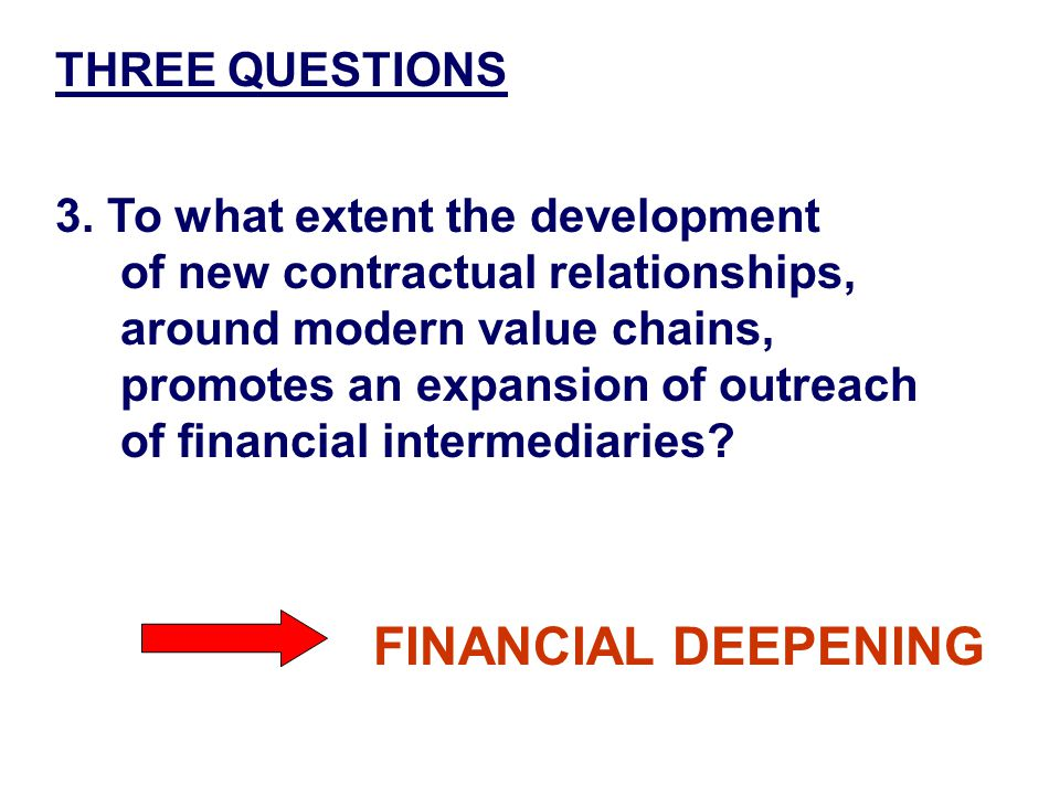 TWO PERSPECTIVES 1.TRADITIONAL Interlinked contracts facilitate credit flows 2.