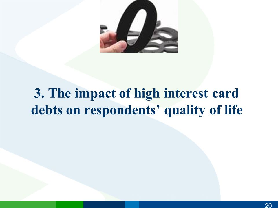 20 3. The impact of high interest card debts on respondents' quality of life