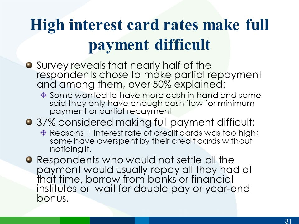 31 High interest card rates make full payment difficult Survey reveals that nearly half of the respondents chose to make partial repayment and among them, over 50% explained: Some wanted to have more cash in hand and some said they only have enough cash flow for minimum payment or partial repayment 37% considered making full payment difficult: Reasons : Interest rate of credit cards was too high; some have overspent by their credit cards without noticing it.