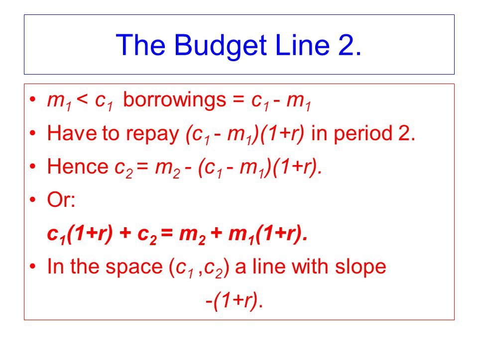 The Budget Line 2. m 1 < c 1 borrowings = c 1 - m 1 Have to repay (c 1 - m 1 )(1+r) in period 2.