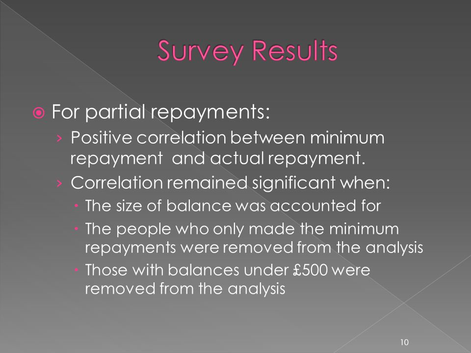  For partial repayments: › Positive correlation between minimum repayment and actual repayment.