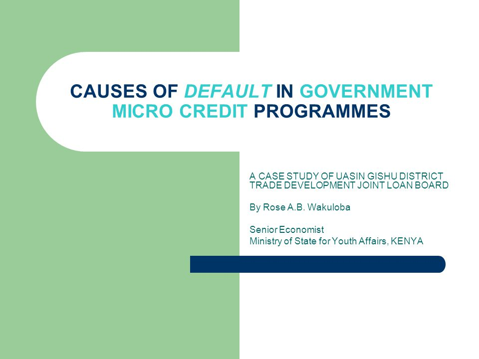 CAUSES OF DEFAULT IN GOVERNMENT MICRO CREDIT PROGRAMMES A CASE STUDY OF UASIN GISHU DISTRICT TRADE DEVELOPMENT JOINT LOAN BOARD By Rose A.B.