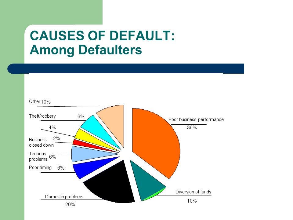 CAUSES OF DEFAULT: Among Defaulters
