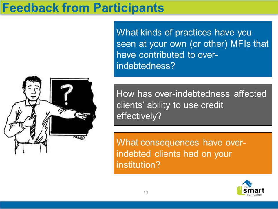 11 Feedback from Participants What kinds of practices have you seen at your own (or other) MFIs that have contributed to over- indebtedness.