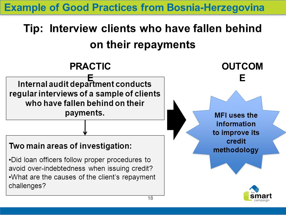 18 Internal audit department conducts regular interviews of a sample of clients who have fallen behind on their payments.