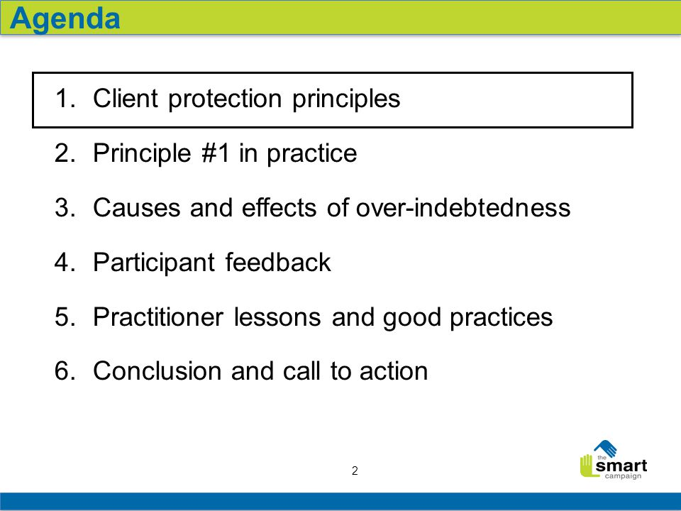 2 1. Client protection principles 2. Principle #1 in practice 3.