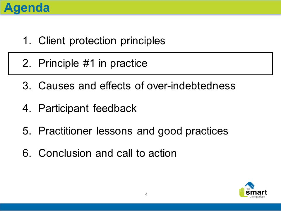 4 1. Client protection principles 2. Principle #1 in practice 3.