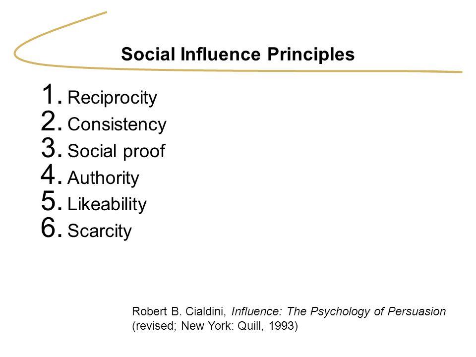 Social Influence Principles 1. Reciprocity 2. Consistency 3. Social proof 4. Authority 5. Likeability 6. Scarcity Robert B. Cialdini, Influence: The P