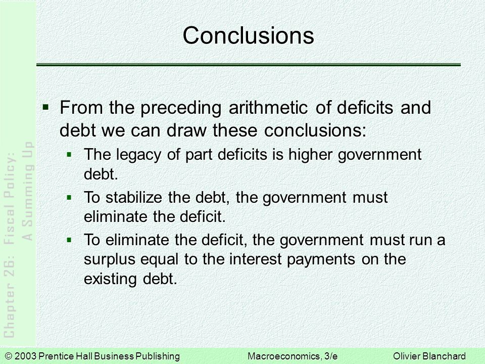 © 2003 Prentice Hall Business PublishingMacroeconomics, 3/e Olivier Blanchard Conclusions  From the preceding arithmetic of deficits and debt we can