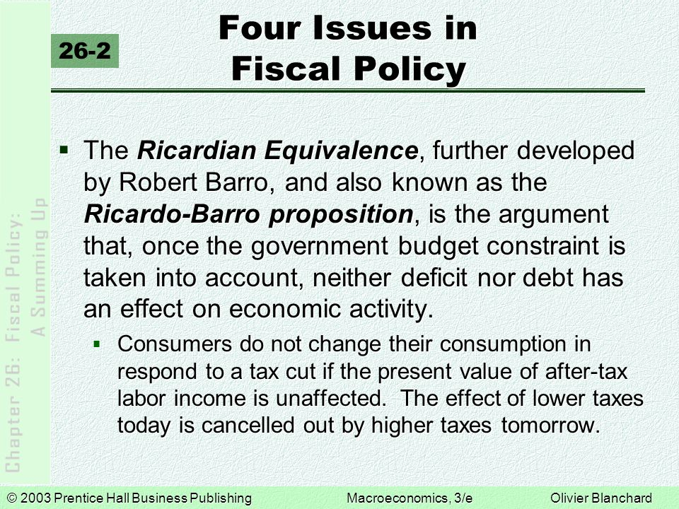 © 2003 Prentice Hall Business PublishingMacroeconomics, 3/e Olivier Blanchard Four Issues in Fiscal Policy 26-2  The Ricardian Equivalence, further d