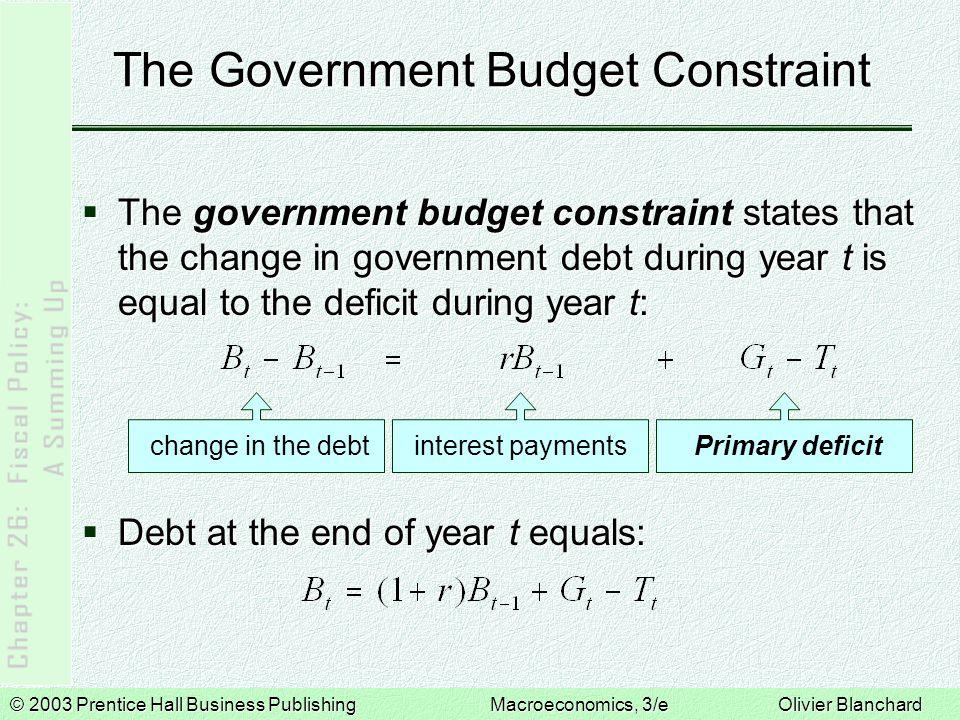 © 2003 Prentice Hall Business PublishingMacroeconomics, 3/e Olivier Blanchard The Government Budget Constraint  The government budget constraint stat
