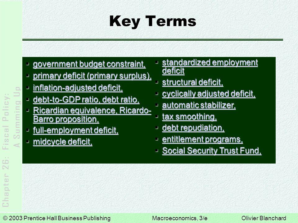 © 2003 Prentice Hall Business PublishingMacroeconomics, 3/e Olivier Blanchard Key Terms  government budget constraint, government budget constraint,