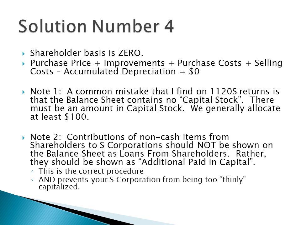  Shareholder basis is ZERO.