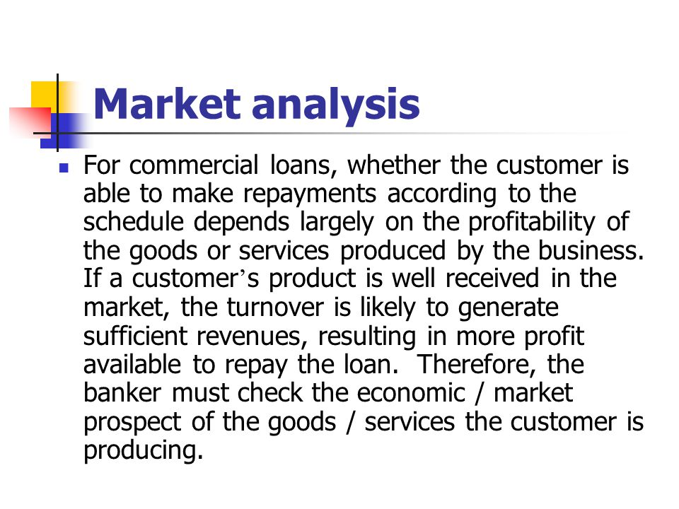 Market analysis For commercial loans, whether the customer is able to make repayments according to the schedule depends largely on the profitability o