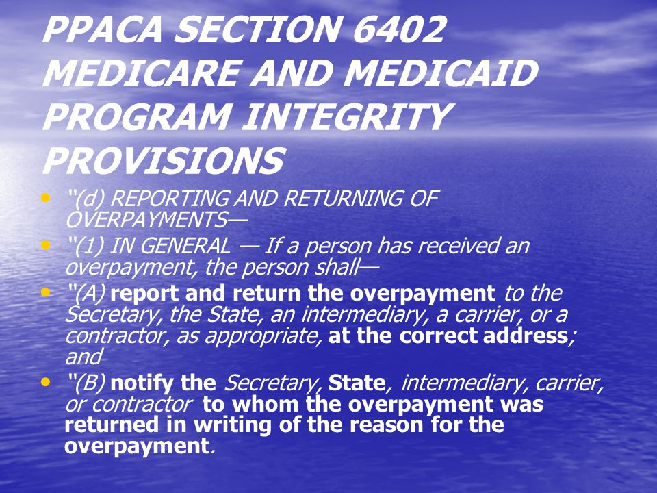 THE OBLIGATION TO RETURN AN IDENTIFIED OVERPAYMENT IS CONTINUING CRITICAL DATE: WHEN WAS THE OVERPAYMENT IDENTIFIED CRITICAL DATE: WHEN WAS THE OVERPAYMENT IDENTIFIED NOT: WHEN WAS THE OVERPAYMENT RECEIVED NOT: WHEN WAS THE OVERPAYMENT RECEIVED CONTINUING DUTY TO REPAY IDENTIFIED OVERPAYMENTS FROM PRIOR TIME PERIODS CONTINUING DUTY TO REPAY IDENTIFIED OVERPAYMENTS FROM PRIOR TIME PERIODS