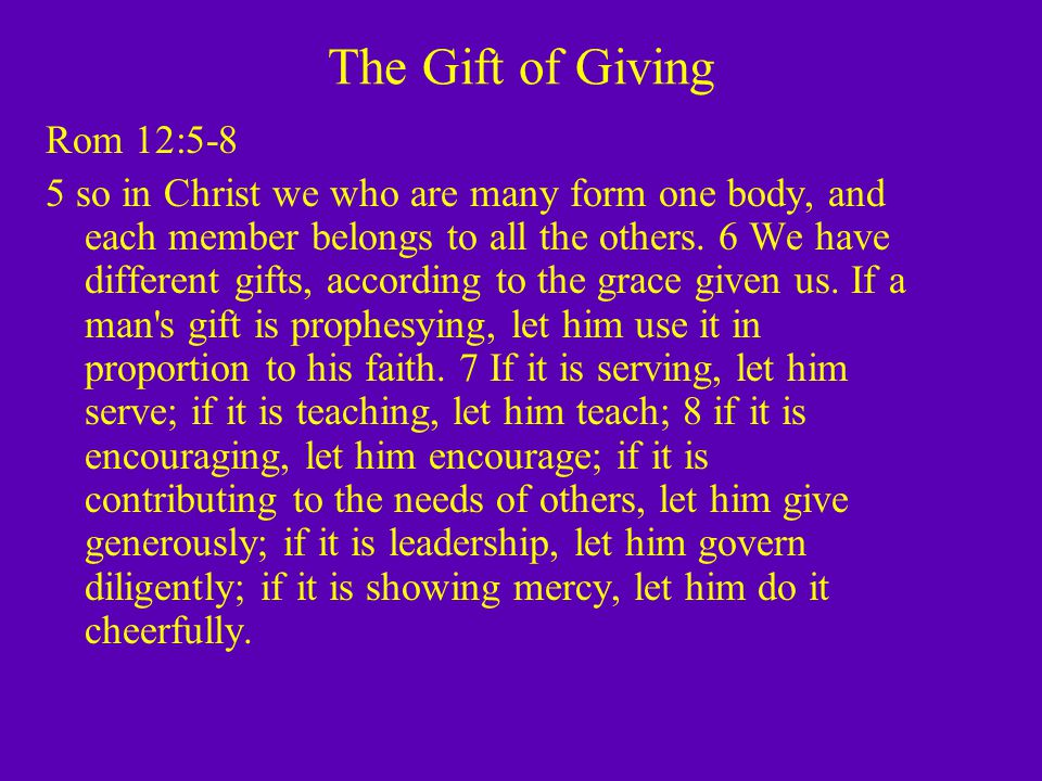 Who do we give to.Rom 12:17-21 17 Do not repay anyone evil for evil.