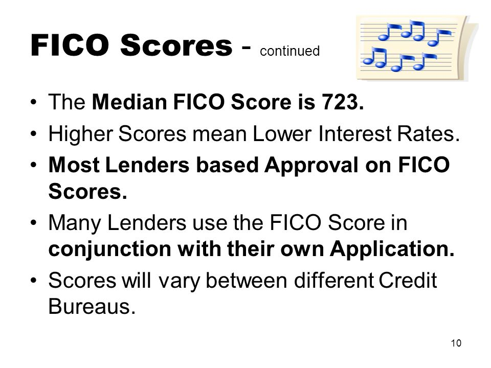 10 FICO Scores - continued The Median FICO Score is 723.