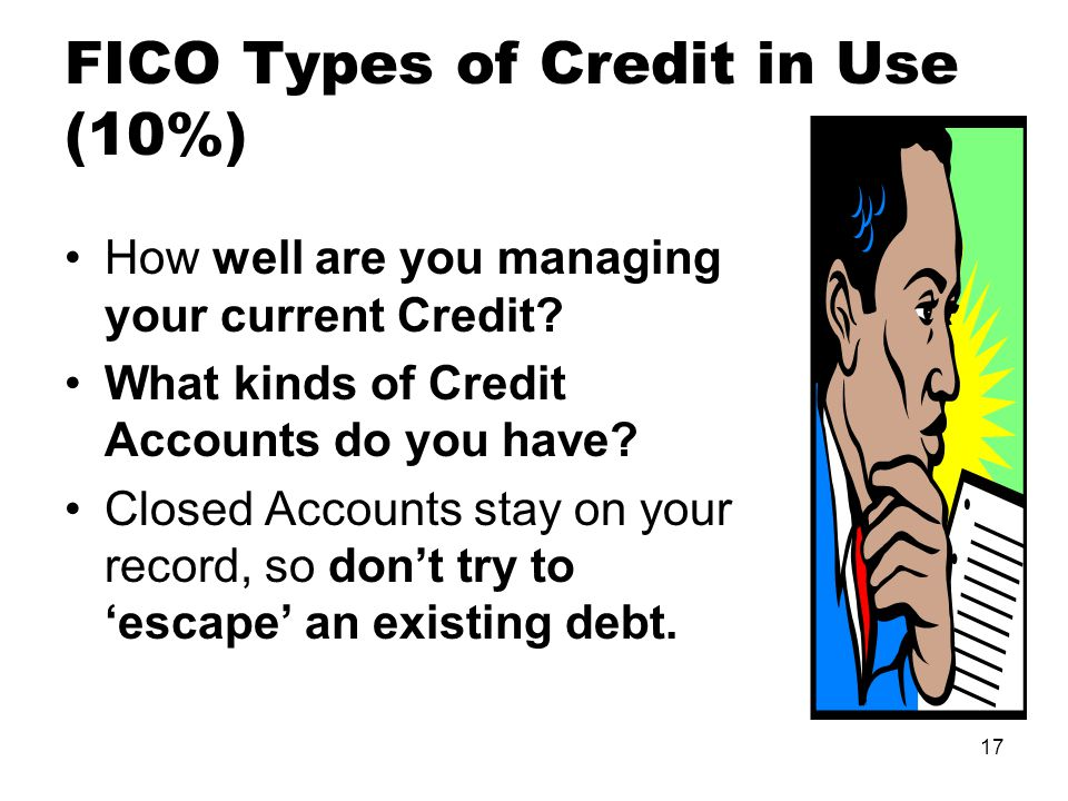 17 FICO Types of Credit in Use (10%) How well are you managing your current Credit.