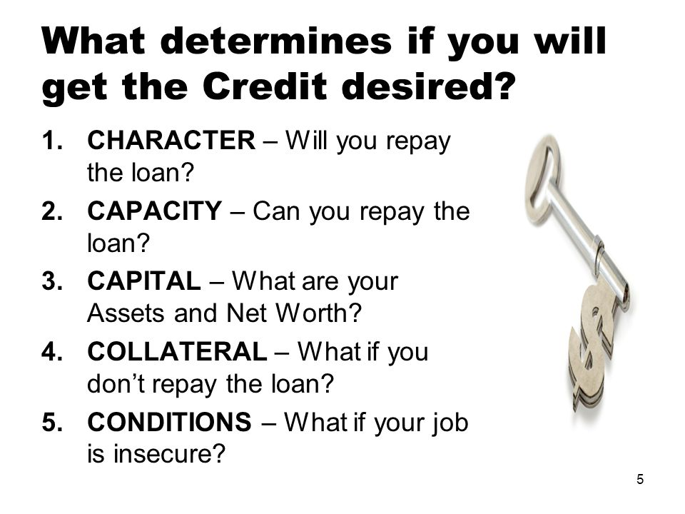 5 What determines if you will get the Credit desired.