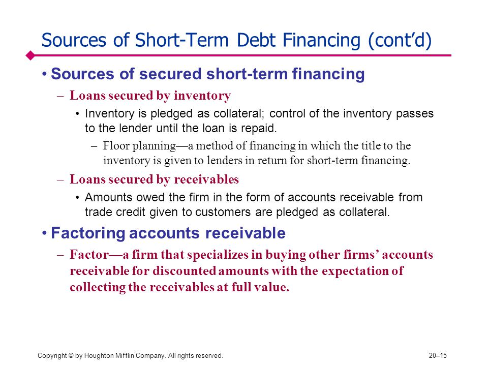 Copyright © by Houghton Mifflin Company. All rights reserved.20–15 Sources of Short-Term Debt Financing (cont'd) Sources of secured short-term financi