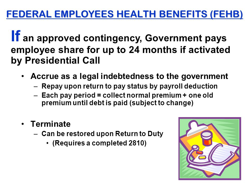 FEDERAL EMPLOYEES HEALTH BENEFITS (FEHB) Accrue as a legal indebtedness to the government –Repay upon return to pay status by payroll deduction –Each pay period = collect normal premium + one old premium until debt is paid (subject to change) Terminate –Can be restored upon Return to Duty (Requires a completed 2810) If an approved contingency, Government pays employee share for up to 24 months if activated by Presidential Call