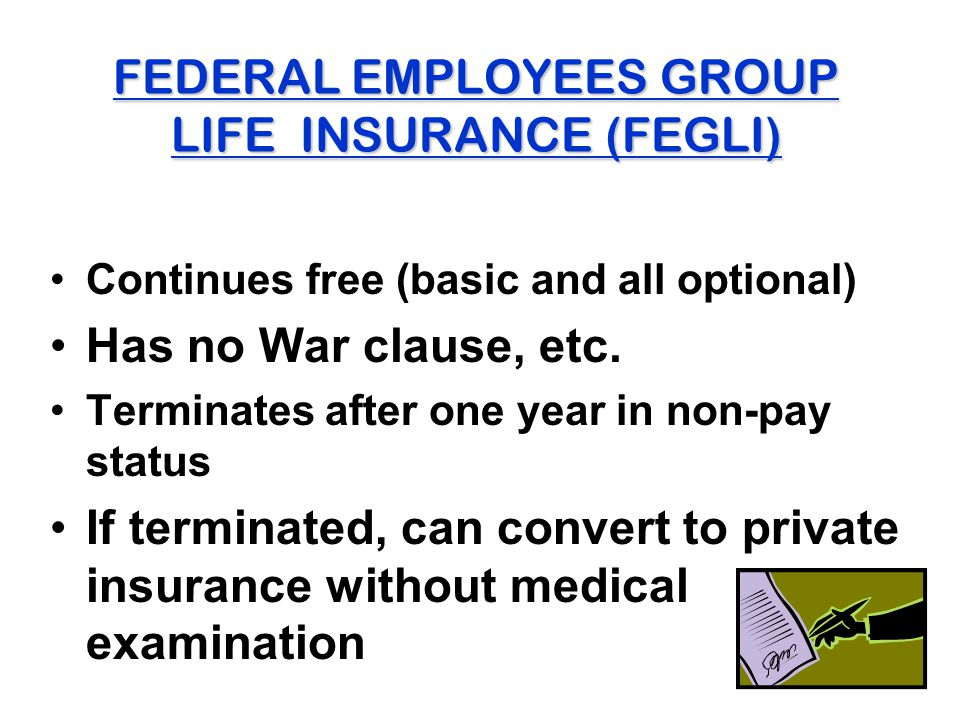 FEDERAL EMPLOYEES GROUP LIFE INSURANCE (FEGLI) Continues free (basic and all optional) Has no War clause, etc. Terminates after one year in non-pay st