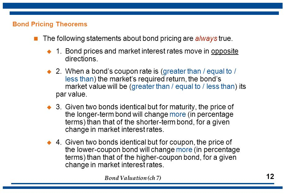Bond Valuation (ch 7) 12 Bond Pricing Theorems The following statements about bond pricing are always true.
