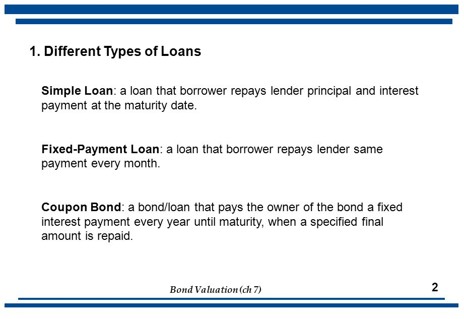 Bond Valuation (ch 7) 2 Simple Loan: a loan that borrower repays lender principal and interest payment at the maturity date.