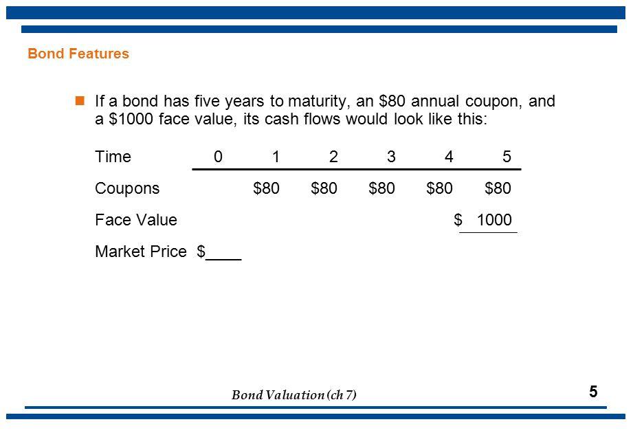 Bond Valuation (ch 7) 16 Bond Ratings Low Quality, speculative, Investment-Quality Bond Ratings and/or Junk High GradeMedium GradeLow GradeVery Low Grade Standard & Poor'sAAAAAABBBBBBCCCCCCD Moody'sAaaAaABaaBaBCaaCaCC Moody'sS&P AaaAAADebt rated Aaa and AAA has the highest rating.