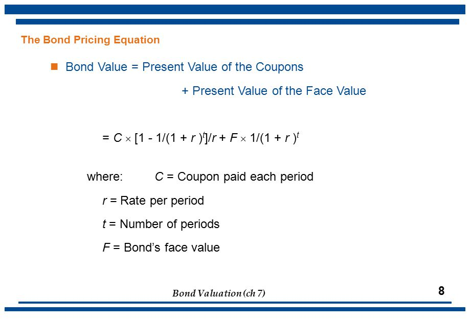 Bond Valuation (ch 7) 8 The Bond Pricing Equation Bond Value = Present Value of the Coupons + Present Value of the Face Value = C  [1 - 1/(1 + r ) t ]/r + F  1/(1 + r ) t where:C = Coupon paid each period r = Rate per period t = Number of periods F = Bond's face value