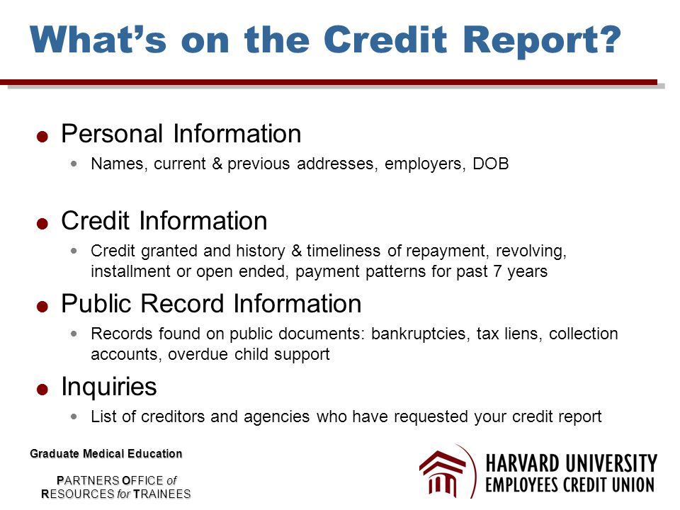 What's on the Credit Report.
