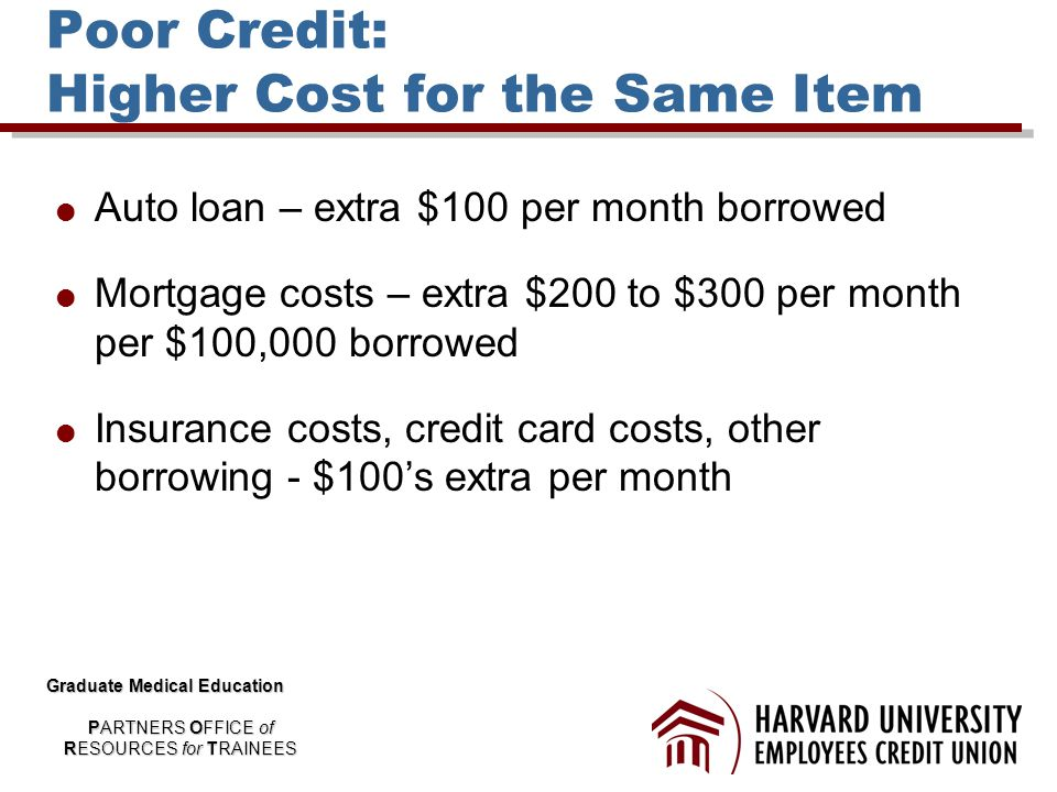 Poor Credit: Higher Cost for the Same Item  Auto loan – extra $100 per month borrowed  Mortgage costs – extra $200 to $300 per month per $100,000 borrowed  Insurance costs, credit card costs, other borrowing - $100's extra per month Graduate Medical Education PARTNERS OFFICE of RESOURCES for TRAINEES
