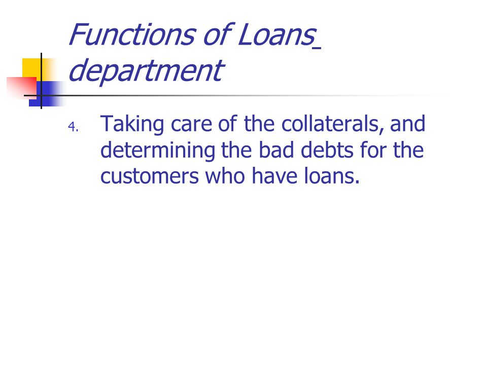 Functions of Loans department 4.