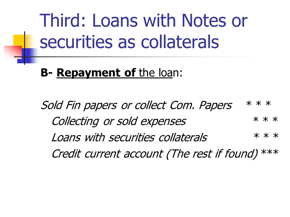 Third: Loans with Notes or securities as collaterals B- Repayment of the loan: Sold Fin papers or collect Com.