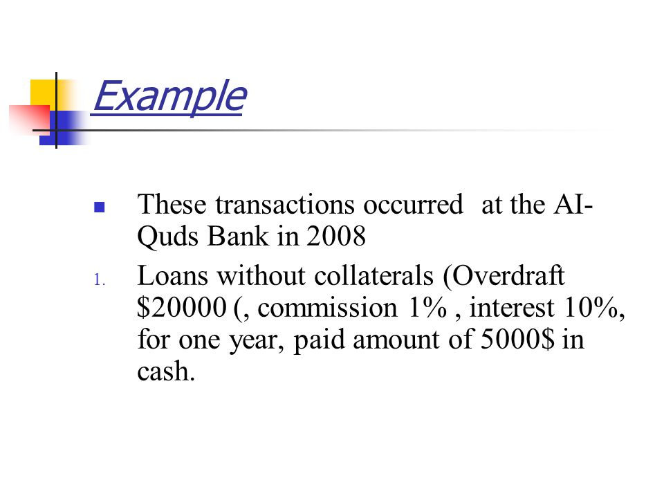 These transactions occurred at the AI- Quds Bank in 2008 1.