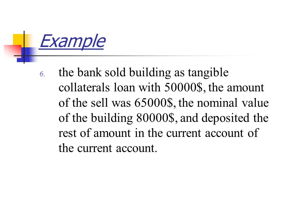 Example 6. the bank sold building as tangible collaterals loan with 50000$, the amount of the sell was 65000$, the nominal value of the building 80000