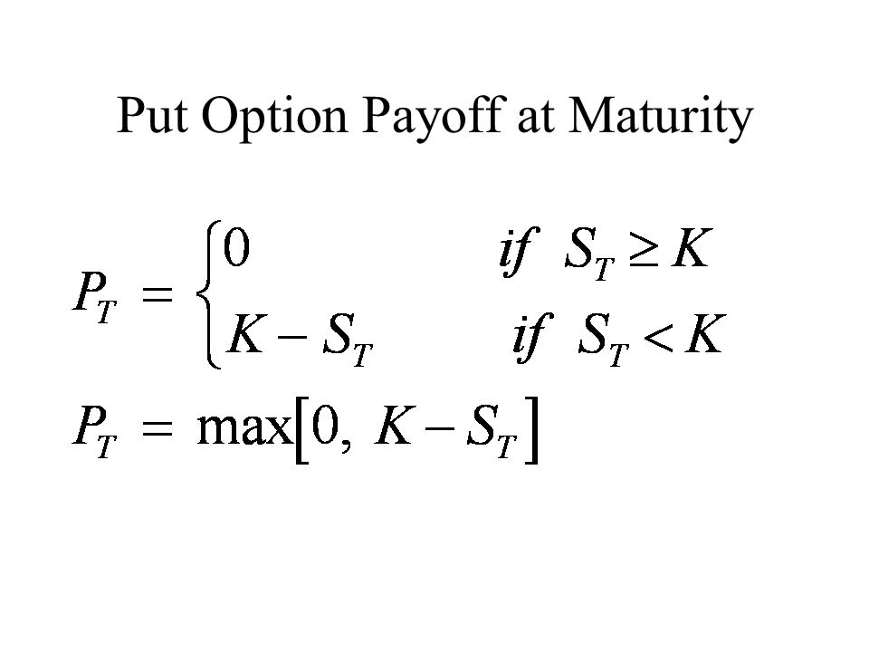 Put Option Payoff at Maturity