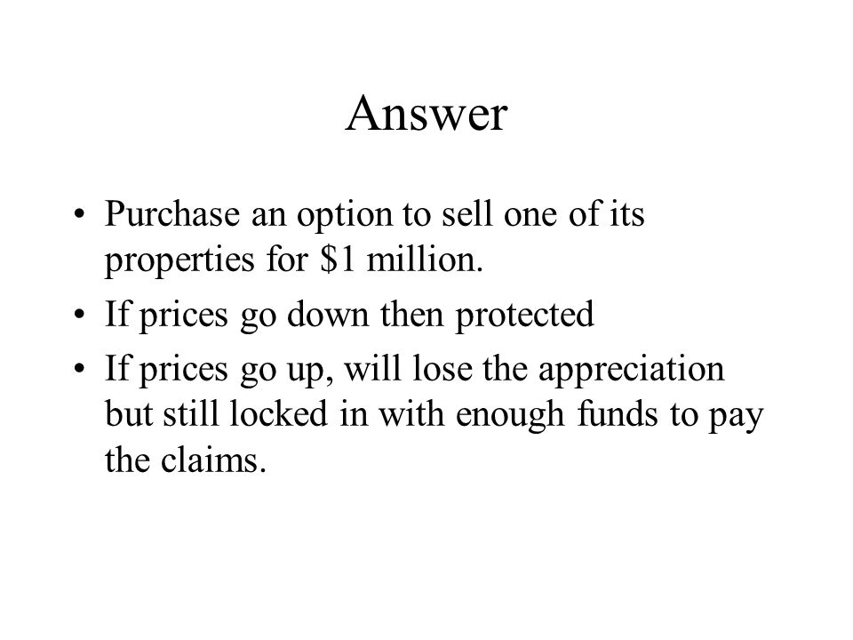 Answer Purchase an option to sell one of its properties for $1 million.