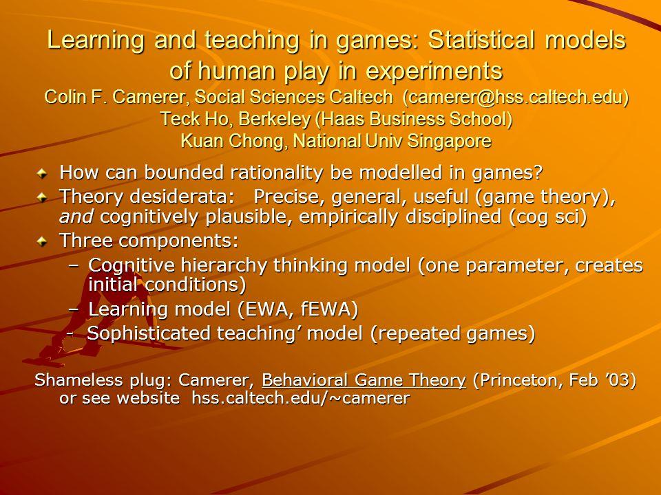 20 estimates of learning model parameters 20 estimates of learning model parameters