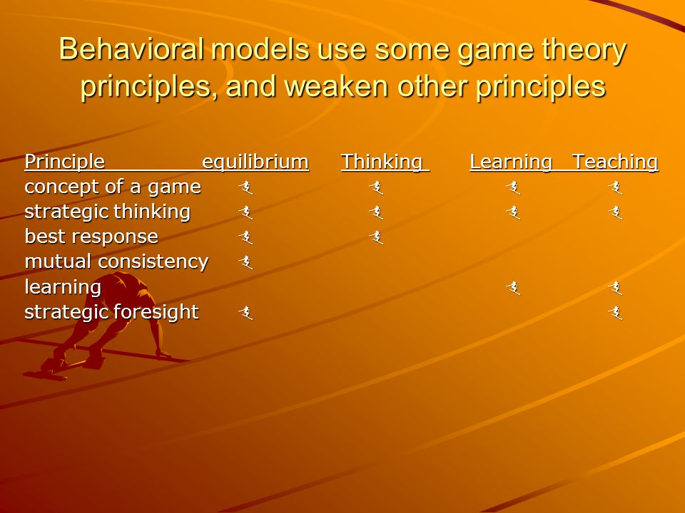 Behavioral models use some game theory principles, and weaken other principles Principle equilibrium Thinking LearningTeaching concept of a game   strategic thinking   best response  mutual consistency  learning   strategic foresight  