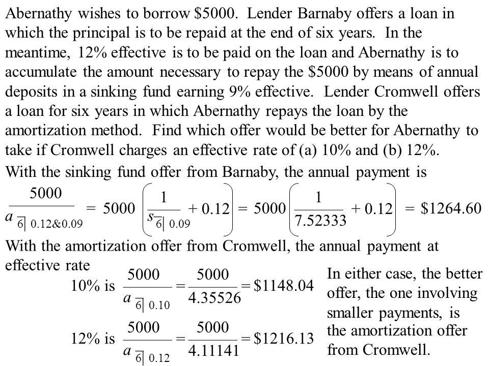 Abernathy wishes to borrow $5000.