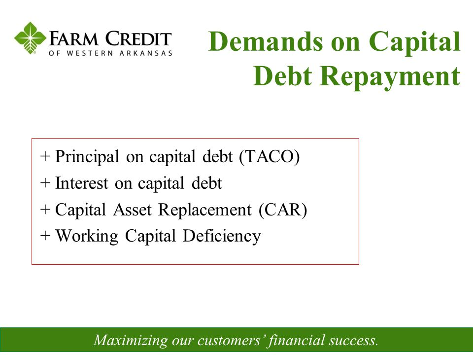 + Principal on capital debt (TACO) + Interest on capital debt + Capital Asset Replacement (CAR) + Working Capital Deficiency Maximizing our customers'