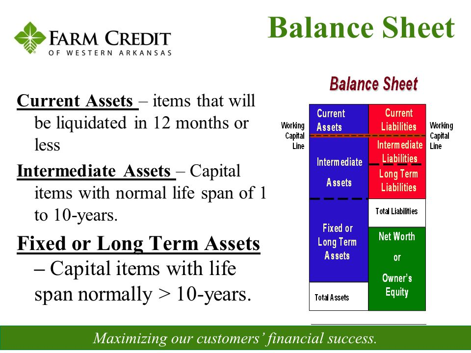 Current Assets – items that will be liquidated in 12 months or less Intermediate Assets – Capital items with normal life span of 1 to 10-years. Fixed