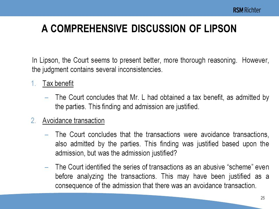 0 25 A COMPREHENSIVE DISCUSSION OF LIPSON In Lipson, the Court seems to present better, more thorough reasoning.