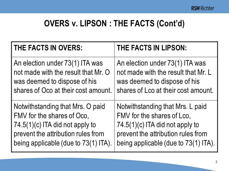0 26 A COMPREHENSIVE DISCUSSION OF LIPSON (Cont'd) –Had the parties not agreed on this point, would the Court have been forced into an interpretation similar to that given in Overs, whereby the scheme had to be ignored in determining whether there was an avoidance transaction, but instead each transaction in and of itself had to be analyzed to determine whether it was an avoidance transaction.