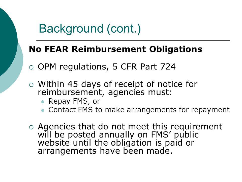 Background (cont.) CDA Reimbursement Obligations  41 U.S.C.