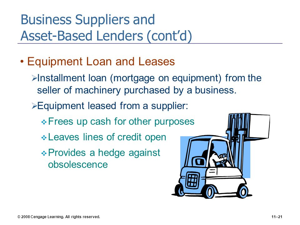 © 2008 Cengage Learning. All rights reserved.11–21 Business Suppliers and Asset-Based Lenders (cont'd) Equipment Loan and Leases  Installment loan (m