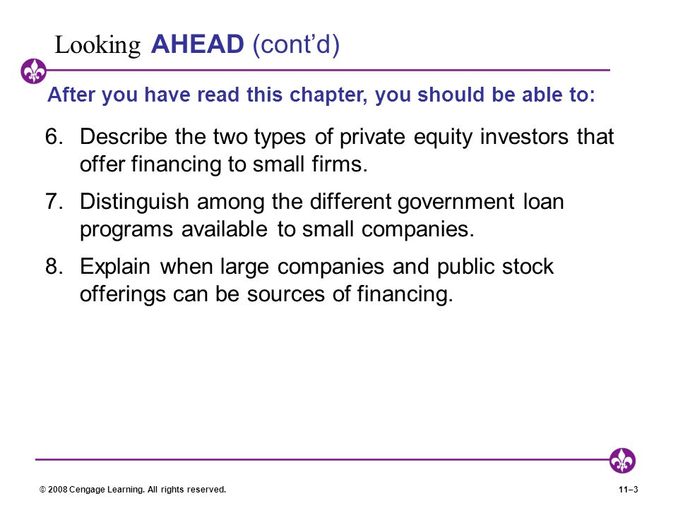 © 2008 Cengage Learning. All rights reserved.11–3 Looking AHEAD (cont'd) 6.Describe the two types of private equity investors that offer financing to
