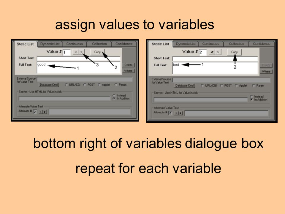 bottom right of variables dialogue box repeat for each variable assign values to variables